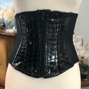 Cadolle Paris ,black patent leather & mesh corset